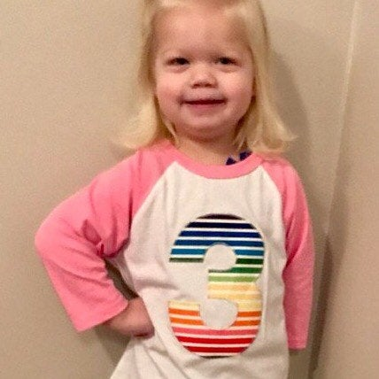 rainbow Birthday shirt, pink and white raglan, girls birthday shirt, unicorn birthday shirt, rainbow stripe outfit, 3 year old, three shirt