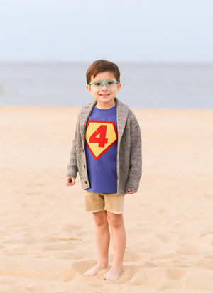 Superhero Birthday Shirt, Number 4, 4th birthday, superman Children Costume, super hero cape, action hero, shield, red yellow blue cake