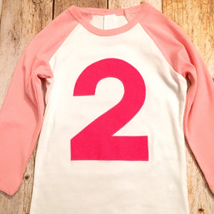 Fuschia birthday shirt, Pink and White Raglan, Birthday outfit, girls 2nd birthday, youth top, 6th, 7th, 8th, 9th, 7, 8, 9, six, seven