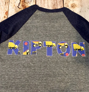 Construction trucks, Custom monogram, birthday shirt, applique word, Personalized, Add NAME, Initial, sewn Letters, dumptuck, cars, vehicle