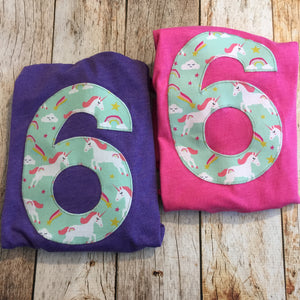 Pink unicorns rainbows girls Birthday shirt grey horse Any Number 1 2 3 4 5 6 7 8 third three year old aqua purple teal red green blue