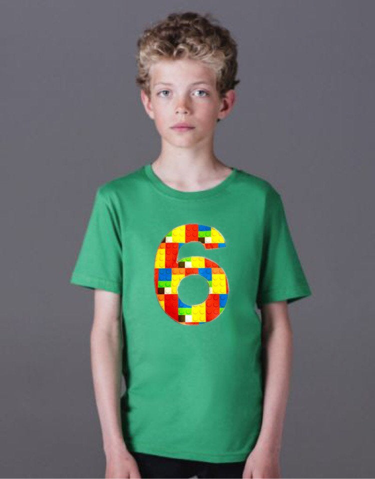 6 green Building brick shirt, six construction blocks birthday outfit, 1 2 3 4 5 Birthday Shirt, 6th primary color blue red yellow plastic