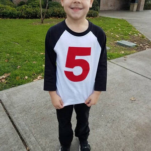 5 year old, navy white sports raglan, 5th Birthday outfit, 1 2 3 4 5 6 7 8 9, blue birthday shirt, red, green, boys five shirt