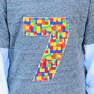Building Bricks Fabric Birthday Shirt Birthday Boys 5th Birthday grey Short Sleeves 1 2 3 4 5 6 7 8 9 1st 2nd 3rd 4th 5th 6th 7th 8th 9th