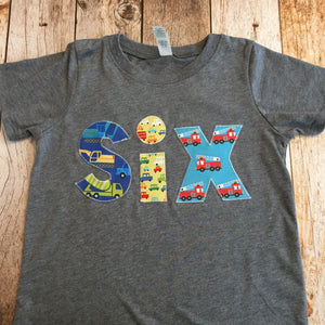 Construction truck Birthday shirt, car Birthday outfit, 6th birthday party, 6 year old, boys 6th birthday, six firetruck shirt, fire truck