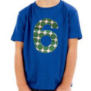 Green birthday shirt, 6th birthday outfit, 6 year old boy, 1st 2nd 3rd, one, two, three, 1, 2, 3, kelly Dot Balls on royal blue party