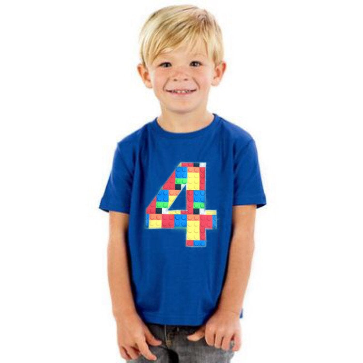4 Birthday shirt, construction blocks outfit, 4th Building brick, four, custom personalized boy, 1 2 3 4 5 6 7 8 9 year old