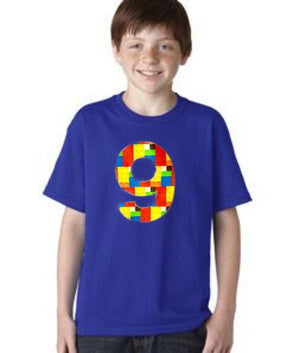 9 Building brick shirt, nine construction blocks birthday outfit, 1 2 3 4 5 Birthday Shirt, 9th primary color blue red yellow plastic toys