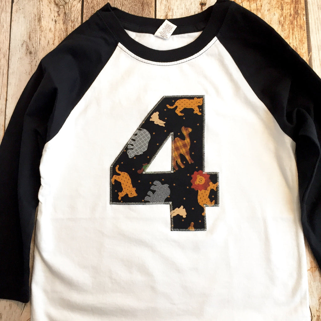 Zoo birthday shirt, jungle birthday outfit, black and white raglan, 1 2 3 4 5 6 7 8 9, elephant, tiger, lion, camel, zoo theme, animals