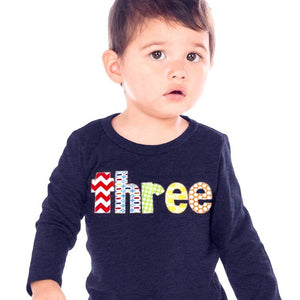 3rd Birthday Shirt boy, three Birthday outfit, 3 year old, navy long sleeves, red chevron pez green circles, primary colors, blue yellow