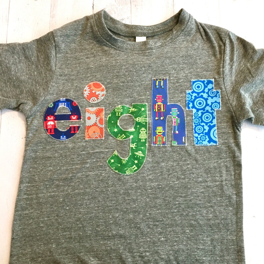Robot Birthday shirt, 8th space rocket outfit, space boy, 8 year old, fourth party,  technology toys, stem engineering,  science spaceship