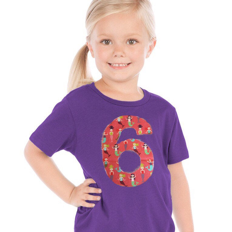Mermaid Birthday shirt | rainbow birthday outfit | purple unicorn shirt | fabric applique sewn | scales tail theme| 6 year old, 1 2 3 4 5