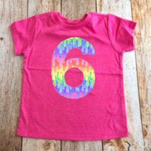Slime Birthday shirt, girls rainbow party outfit, invitation, pink purple girl, 6th, six, 1 2 3 4 5 6 7 8 year old 1st 2nd 3rd 4th 5th 7th