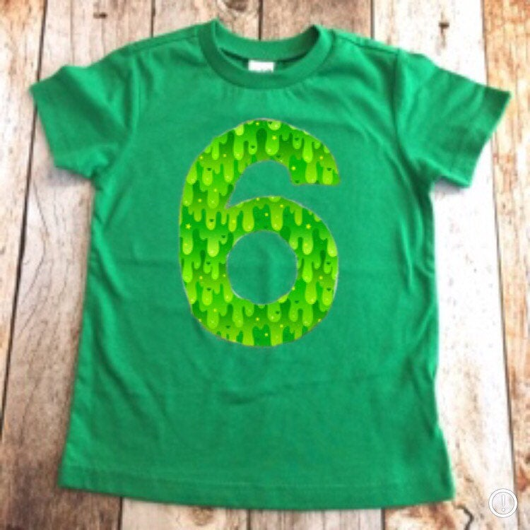 Slime Birthday shirt, boy party outfit, royal blue lime green, 6th, six, 1 2 3 4 5 6 7 8 year old 1st 2nd 3rd 4th 5th 7th