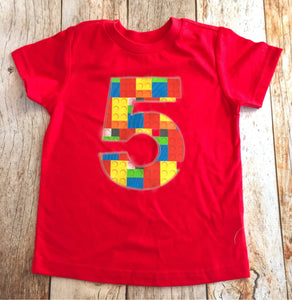 Red brick Birthday shirt, five construction blocks outfit, 4 5 6 7 8 year old, 5th 6th 7th 8th, green blue yellow, invitations, cake, theme