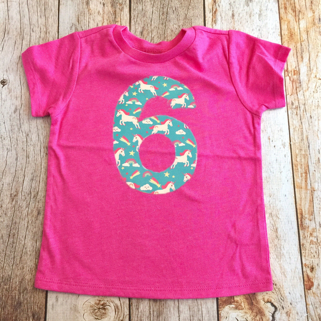unicorn Birthday shirt, rainbow party invitation, teal pink purple shirt, fabric applique number, 6 year old girl, 6th, six, 1 2 3 4 5 7 8 9