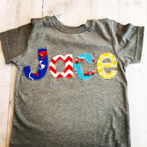 Back to school, 1st day of school Personalized shirt outfit boy, sewn applique fabric Monogram, Nickname, Initials embroidery, custom tshirt