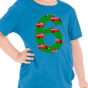 Fire truck birthday shirt, boys party outfit, fire truck birthday, boys fire truck shirt, fire engine, gift, toddler green blue red aqua