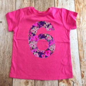 Flower Birthday shirt | flower girl outfit | floral pink purple | fabric applique number | 1 2 3 4 5 6 7 8 year old, 1st 2nd 3rd 4th 5th 6th