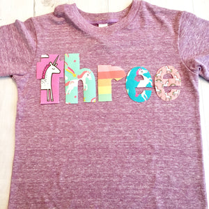 unicorn Birthday shirt, 3rd, three rainbow party outfit, pink purple, number girl, 1 2 3 4 5 6 7 8 year old supplies, 1st 2nd 4th 5th 6th