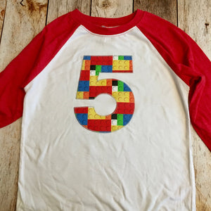 5th construction block 5 Birthday shirt Building Brick primary black white Red and White Raglan boys toys party cake 1 2 3 4 6 7 8 9