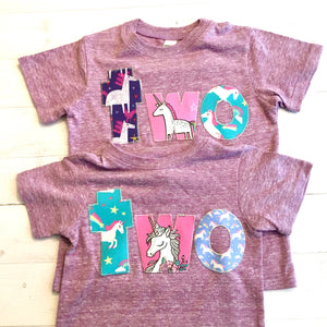 two unicorn birthday shirt, purple outfit girl, 2nd rainbow, 2 year old, cake, pink aqua, 1 2 3 4 5  1st 2nd 3rd 4th 5th one two three