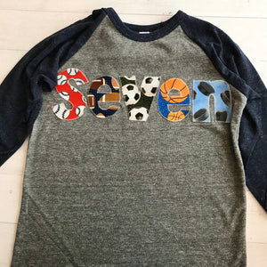 Sports birthday shirt, baseball football soccer balls basketball hockey, seven, 7 year old, 7th birthday boy, navy blue and grey raglan