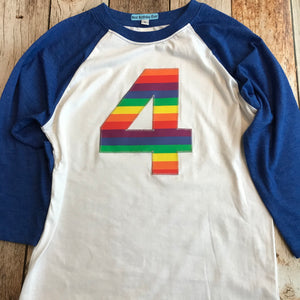 Blue and white rainbow girls Birthday shirt fuchsia Pink Raglan Any Number 1 2 3 4 6 7 8 9 unicorn red blue purple green yellow orange