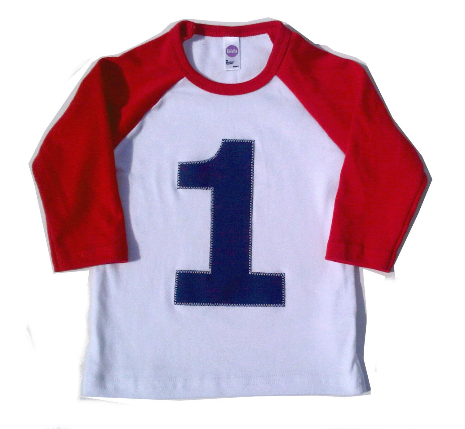 My First Birthday Red and White Raglan Shirt- Raglan boys 1st Birthday T Shirt Boy baseball navy blue number one 1 year old 12 months