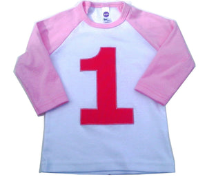 Birthday T Shirt Children Spring 1st, 2nd, 3rd Birthday Raglan Shirt Girl 1 2 3 4 5