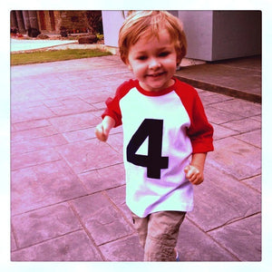 Red and White Raglan Birthday Shirt 80s Retro Baseball Shirt boys 4th birthday four year old number 4 age in navy blue
