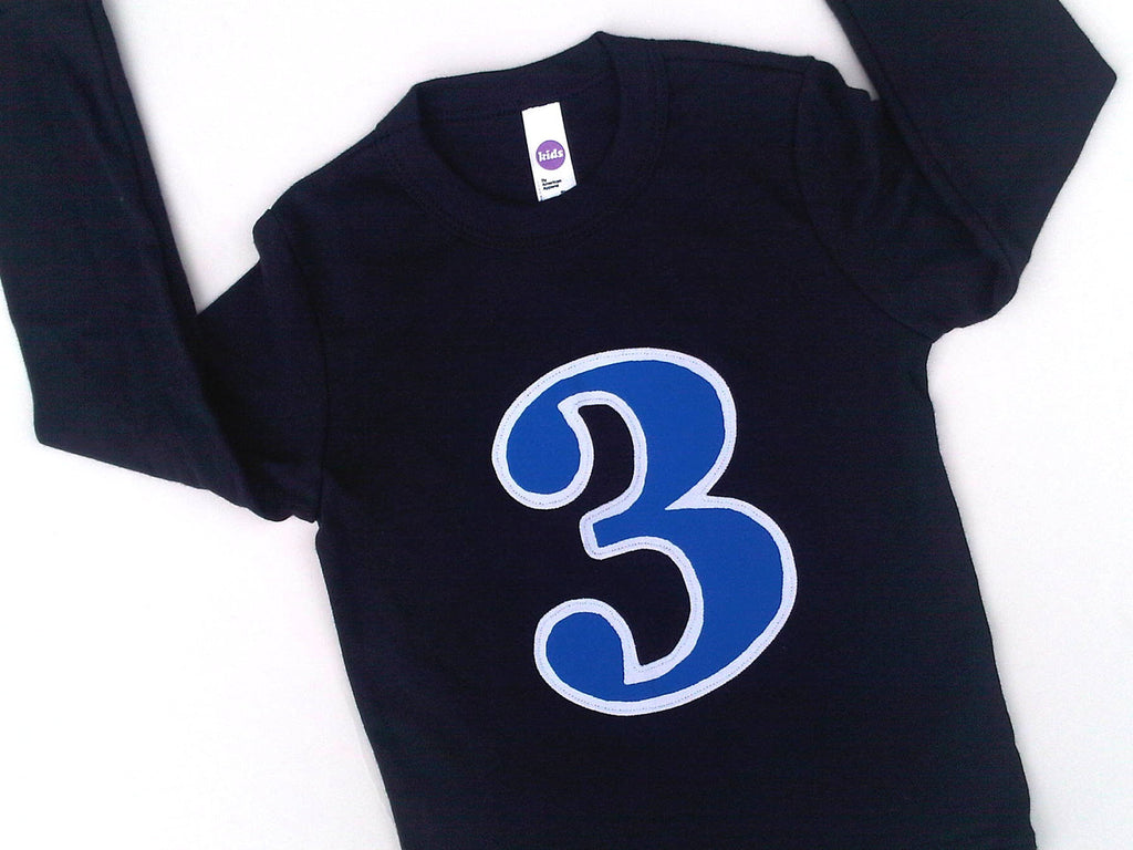 Birthday Shirt in Royal and White on Long Sleeve Navy Shirt with a Big 1 2 3 4 5