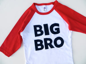 Baseball Raglan Big Bro to match a Lil Sis or Bro Shirt for a Sibling Set