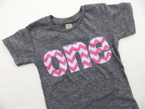 one for 1st Birthday Pink Chevron Number for any Birthday -  Pick a chevron color Birthday Shirt