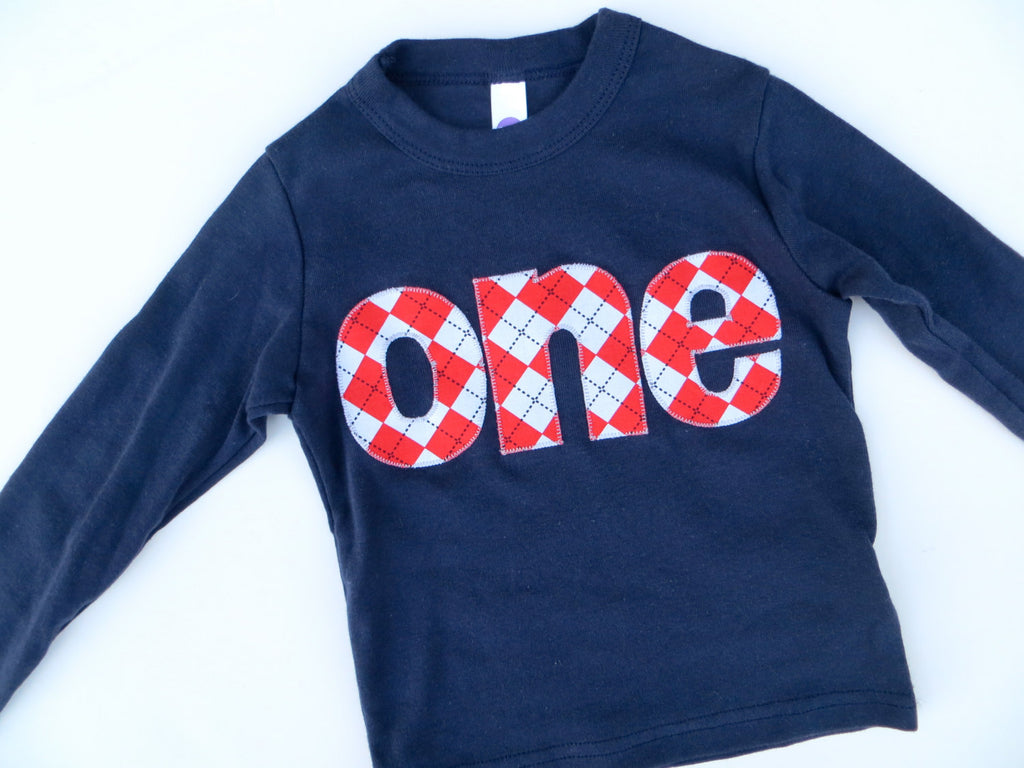 one lowercase red argyle on long sleeve navy shirt  for 1st Birthday Shirt