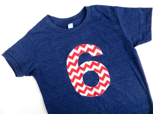 Big Red and White Chevron Short Sleeve Birthday Shirt Triblend Indigo Hip Birthday Tshirt