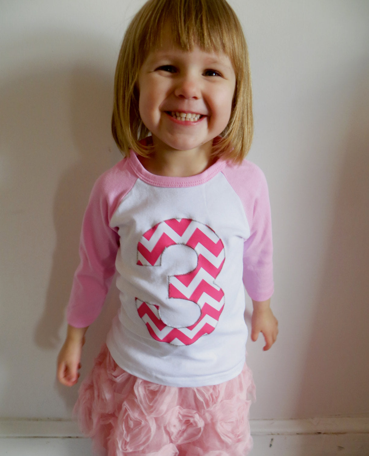 Giant Number First Birthday Shirt- Fuchsia Chevron Pink Any Birthday T Shirt for Girl
