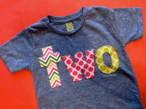 two lowercase girls pink and green chevron, lace and circles 2nd Birthday Shirt on 2T Super Soft Eco Triblend