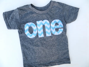 Fan Photo one for 1st Birthday Navy Blue for boys Chevron Number for any Birthday -  Pick a chevron color Birthday Shirt