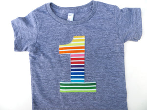 Rainbow Stripes Short Sleeve 1st Birthday Shirt Triblend Grey Hip Birthday Tshirt