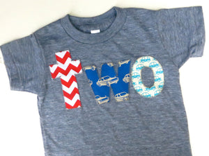 Birthday Shirt two shirt chevron, royal retro cars, aqua cars for boys blue 2nd Birthday Shirt