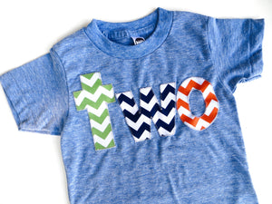 Fan Photo grass green, navy orange-  two athletic blue birthday shirt for 2nd  Birthday Chevron Number 2 year old boys party favor cake