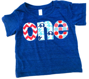 Fan Photo one lowercase with circus elephant birthday on triblend indigo for boys 1st Birthday Shirt