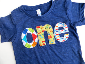 Boys Birthday Shirt Lowercase Letters Birthday Tshirt- one in Argyle, Cars, Pez