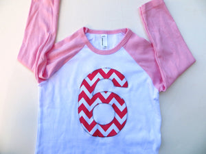 Giant Number First Birthday Shirt- Fuchsia Chevron Pink 6th Birthday T Shirt for Girl