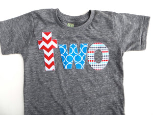 two lowercase with circus birthday theme in turquoise, aqua, teal and red on triblend grey for boys 2nd Birthday Shirt