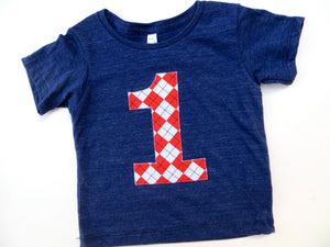 Birthday Shirt with red Argyle Biggie Number on Triblend indigo Hip All Boy Party