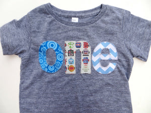Birthday Shirt one shirt sprocket, gears, robots, chevron for boys 1st Birthday Shirt