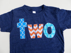 Blue orange Birthday Shirt, aqua boys birthday, 2 year old, 2nd Birthday, two shirt, Nemo birthday shirt, boys fish party, navy blue orange