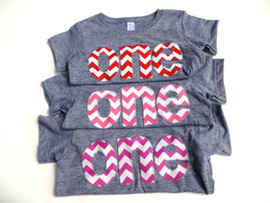 one for 1st Birthday Pink, Fuchsia or Red Chevron Number for Birthday -  Pick a chevron color Birthday Shirt